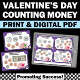 Digital Valentines Day Math Activities Counting Money Task Cards 2nd 3rd Grade