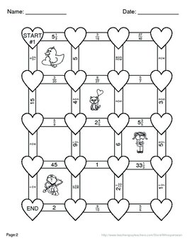 Valentine's Day Math: Multiplying Fractions Maze