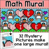 Valentine's Day Math Mural Whole Class Mystery Pictures Activity