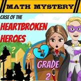 Valentine's Day Math Mystery 2nd Grade Math Worksheets Printable & Digital
