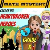 Valentine's Day Math Mystery 3rd Grade Math Worksheets Printable & Digital