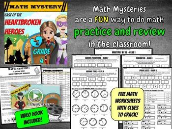 Valentine's Day Math Mystery Game 4th Grade Math Worksheets CSI Activity