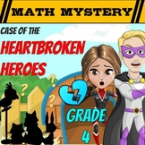 Valentine's Day Math Mystery 4th Grade Math Worksheets Printable & Digital