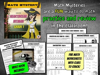 Valentine's Day Math Mystery Activity - GRADE 1 - {Fun Math Review}