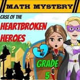 Valentine's Day Math Mystery 5th Grade Worksheets Printable & Digital Activity