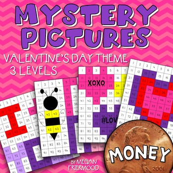 Valentine's Day Math Mystery Pictures {MONEY} *DIFFERENTIATED*