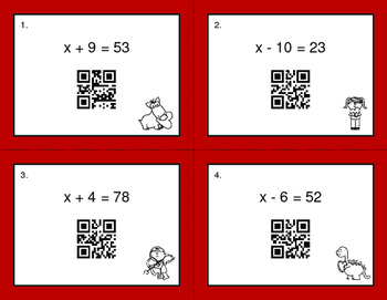 Valentine's Day Math: One Step Equations (Addition & Subtraction) QR Task Cards