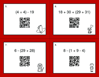 Valentine's Day Math: Order of Operations QR Code Task Cards