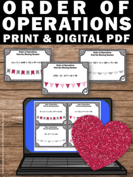 Order of Operations Task Cards for Valentine's Day Math Games & Activities