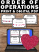 5th 6th Grade Valentine's Day Math Activities, Order of Operations Task Cards