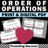 Valentine's Day Math Activities, 5th Grade Order of Operations Task Cards