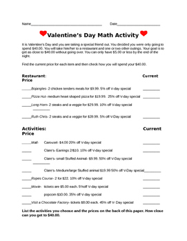 Valentine's Day Math - Percent
