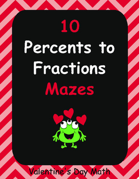 Valentine's Day Math: Percents to Fractions Maze