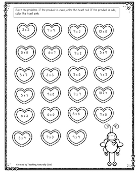 Valentine's Day Math Printables/Worksheets (2ND/3RD GRADE)