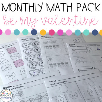 Valentine\'s Day Math Printables for Special Education | TpT