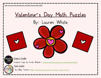 FREEBIE- Valentine's Day Number Puzzles