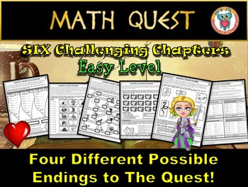Valentine's Day Math Review Quest: The Heartless Queen (EASY LEVEL)