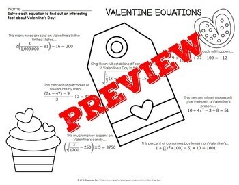 Valentine's Day Math, Solving Equations, Secondary