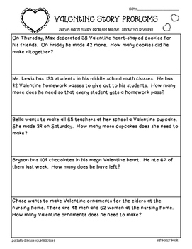Valentine's Day Math Story Problems--2-3 digit practice worksheet add/subtract