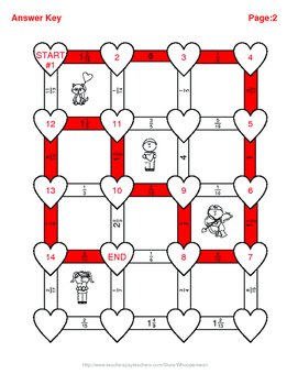 Valentine's Day Math: Subtracting Like Fractions Maze