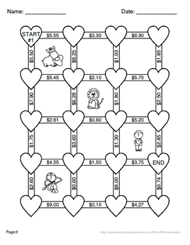 Valentine's Day Math: Subtracting Money Maze