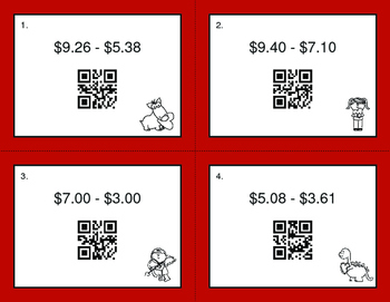 Valentine's Day Math: Subtracting Money QR Code Task Cards