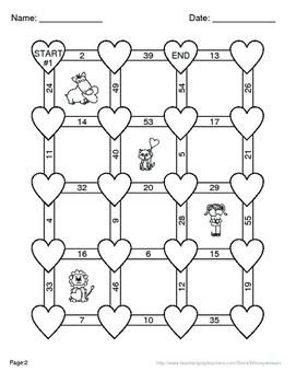 Valentine's Day Math: Subtracting Three 2-Digit Subtraction Maze
