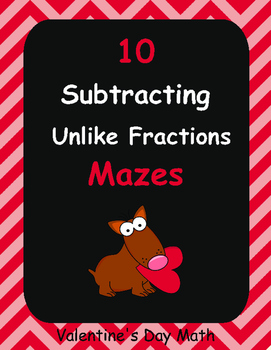Valentine's Day Math: Subtracting Unlike Fractions Maze