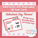 Valentine's Day Math - Subtraction with Regrouping QR Task Cards