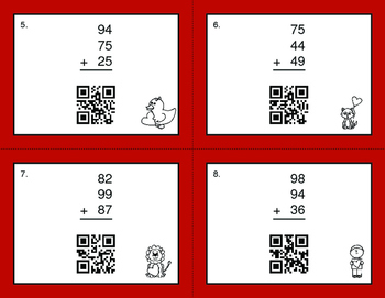 Valentine's Day Math: Three 2-Digit Addition QR Code Task Cards