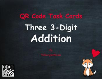 Valentine's Day Math: Three 3-Digit Addition QR Code Task Cards
