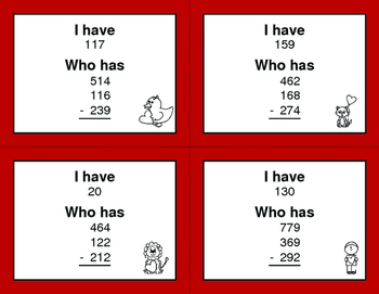 Valentine's Day Math: Three 3-Digit Subtraction - I Have, Who Has