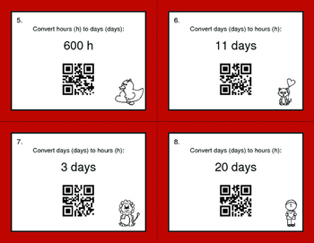 Valentine's Day Math: Time Conversion: Days & Hours QR Code Task Cards