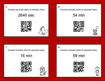 Valentine's Day Math: Time Conversion: Minutes & Seconds QR Code Task Cards