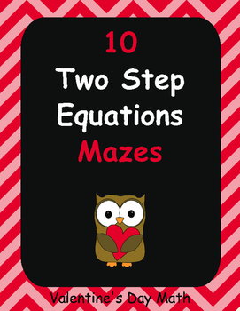 Valentine's Day Math: Two Step Equations Maze