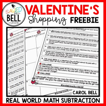 Valentine's Day Math Word Problems Finding Change Freebie