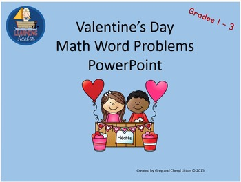 FisforFebruary Valentine's Day Math Word Problems Grades 1-3 Power Point