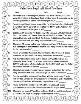 Valentine's Day Math Word Problems Worksheet and Answer KEY