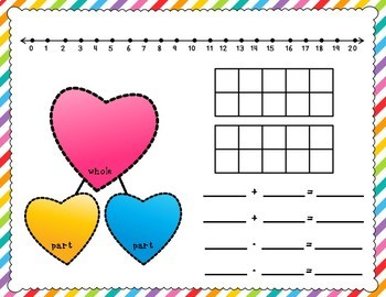 Valentine's Day Math Work Mats for Common Core Math with Numbers 1-10 and 1-20