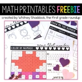 Valentine's Day Math Worksheets: FREEBIE