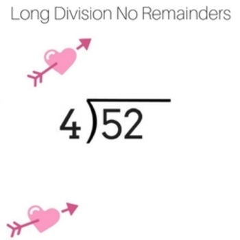 Valentines Day Math Worksheets Long Division No Remainders 2