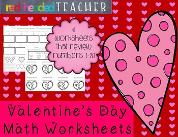Valentine's Day Math Worksheets Numbers 1-20