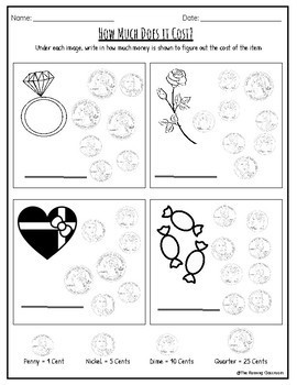 Valentine's Day Math Worksheets with Answer Keys (Grades 1,2,3 & No Prep)