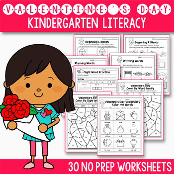 Valentine's Day Math and Literacy BUNDLE Valentine's Day Activities Kindergarten