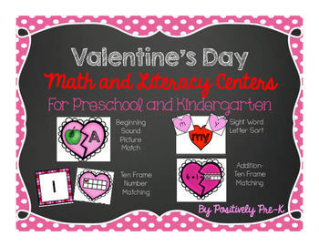 Valentine's Day Math and Literacy Centers for Kindergarten