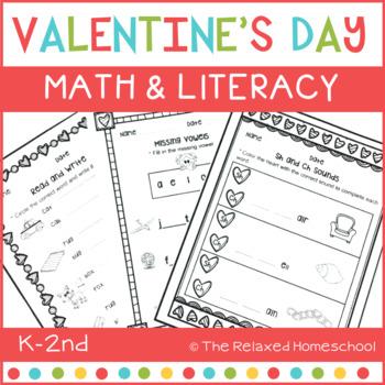Valentine's Day Math and Literacy - Kindergarten NO PREP!