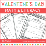 Valentine's Day Math and Literacy - Kindergarten NO PREP!