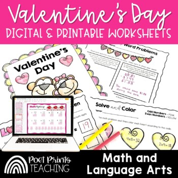 Valentines Day Activities, Math and Writing, No Prep Pack