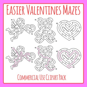 Valentine's Day Mazes - Simple Mazes with Solutions Commercial Use Clip Art