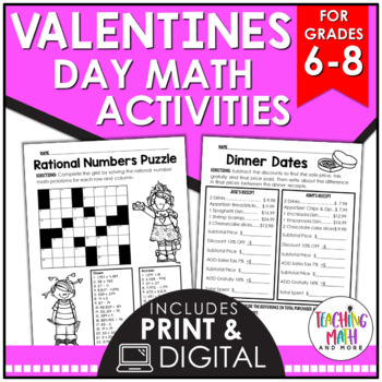 Valentine's Day Middle School Math Activities